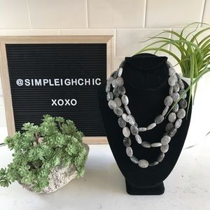 Grey Beaded Statement Necklace